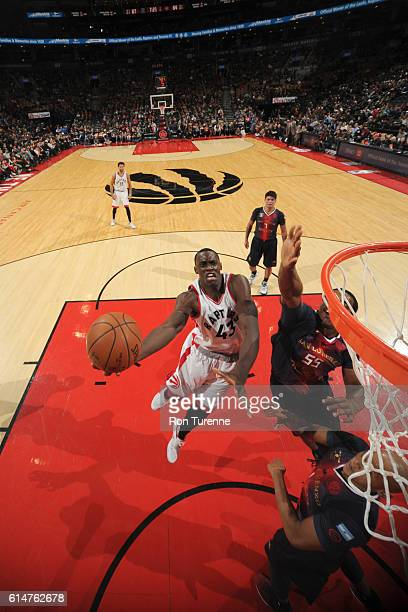 Pascal Siakam of the Toronto Raptors goes to the basket against the San Lorenzo de Almagro during a preseason game on October 14 2016 at the Air...