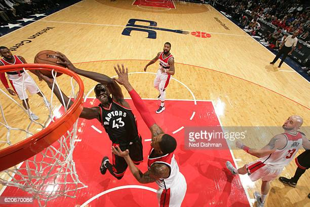 Pascal Siakam of the Toronto Raptors goes to the basket against the Washington Wizards on November 2 2016 at Verizon Center in Washington DC NOTE TO...
