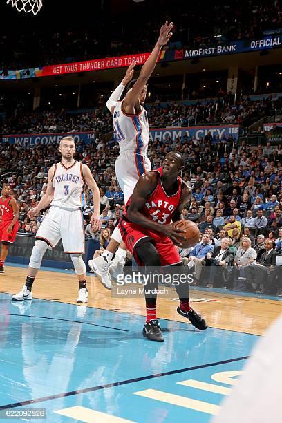 Pascal Siakam of the Toronto Raptors goes to the basket against the Oklahoma City Thunder on November 9 2016 at Chesapeake Energy Arena in Oklahoma...