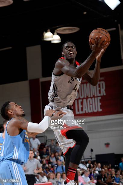 Pascal Siakam of the Toronto Raptors goes to the basket against the Denver Nuggets during the 2017 Las Vegas Summer League on July 10 2017 at the Cox...