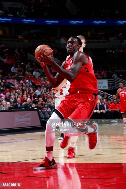 Pascal Siakam of the Toronto Raptors goes to the basket against the Chicago Bulls on October 13 2017 at the United Center in Chicago Illinois NOTE TO...