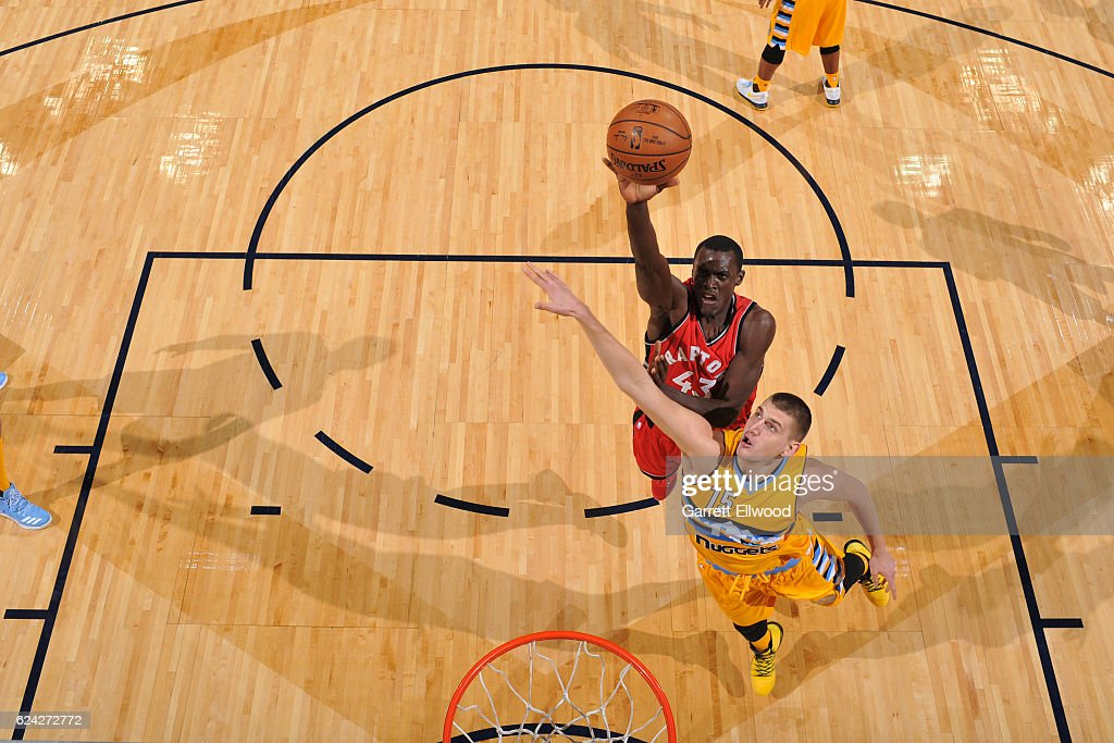 Pascal Siakam #43 of the Toronto Raptors goes up for a lay up against the Denver Nuggets on November 18, 2016 at the Pepsi Center in Denver, Colorado.