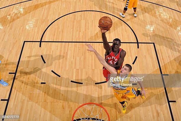 Pascal Siakam of the Toronto Raptors goes up for a lay up against the Denver Nuggets on November 18 2016 at the Pepsi Center in Denver Colorado NOTE...