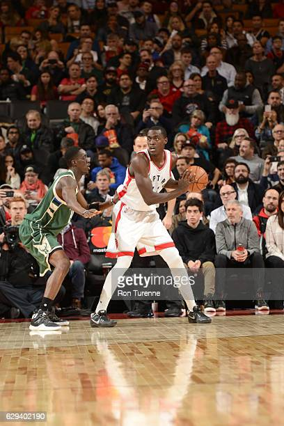 Pascal Siakam of the Toronto Raptors handles the ball against the Milwaukee Bucks on December 12 2016 at the Air Canada Centre in Toronto Ontario...