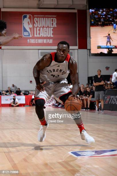 Pascal Siakam of the Toronto Raptors handles the ball against the Denver Nuggets during the 2017 Las Vegas Summer League on July 10 2017 at the Cox...