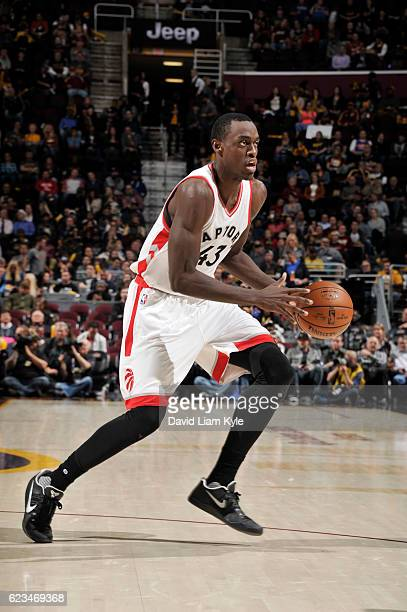 Pascal Siakam of the Toronto Raptors handles the ball during a game against the Cleveland Cavaliers on November 15 2016 at Quicken Loans Arena in...