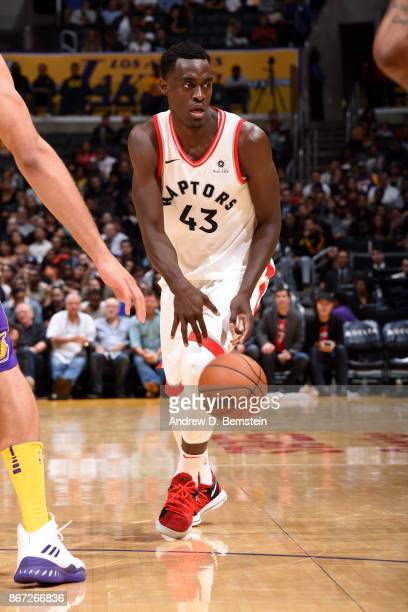 Pascal Siakam of the Toronto Raptors handles the ball during the game against the Los Angeles Lakers on October 27 2017 at STAPLES Center in Los...