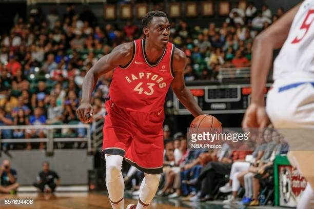 Pascal Siakam of the Toronto Raptors handles the ball during the preseason game against the LA Clippers on October 4 2017 at the Stan Sheriff Center...