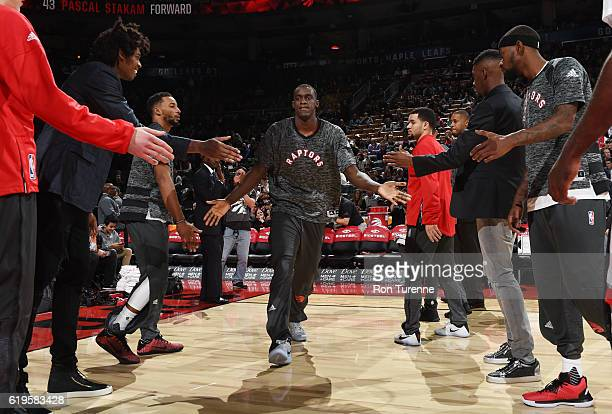 Pascal Siakam of the Toronto Raptors is introduced before a game against the Denver Nuggets on October 31 2016 at the Air Canada Centre in Toronto...