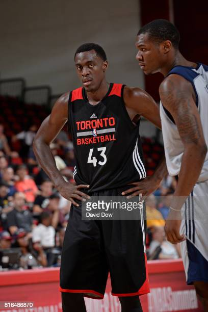 Pascal Siakam of the Toronto Raptors looks downcourt against the New Orleans Pelicans during the 2017 Las Vegas Summer League on July 7 2017 at the...