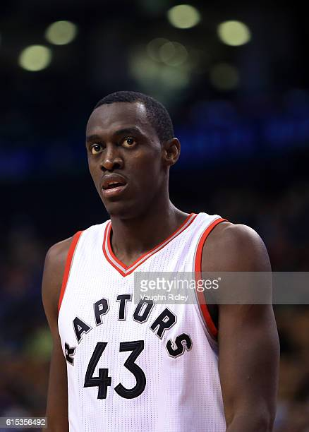 Pascal Siakam of the Toronto Raptors looks on during a NBA preseason game against San Lorenzo de Almagro at Air Canada Centre on October 14 2016 in...