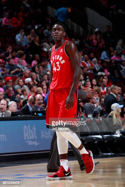 Pascal Siakam of the Toronto Raptors looks on during the game against the Chicago Bulls on October 13 2017 at the United Center in Chicago Illinois...