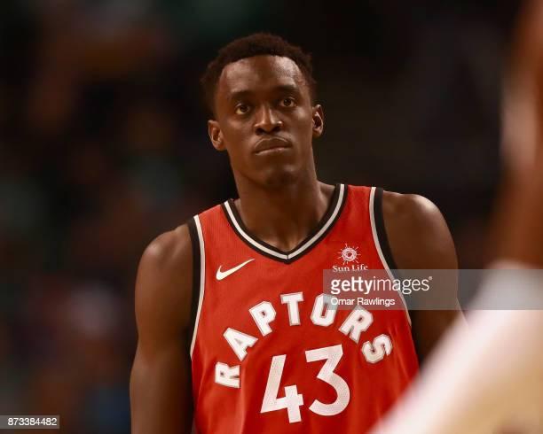 Pascal Siakam of the Toronto Raptors looks on during the game against the Boston Celtics at TD Garden on November 12 2017 in Boston Massachusetts...