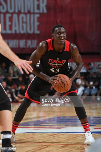 Pascal Siakam of the Toronto Raptors looks to pass against the Minnesota Timberwolves during the 2017 Las Vegas Summer League on July 8 2017 at the...