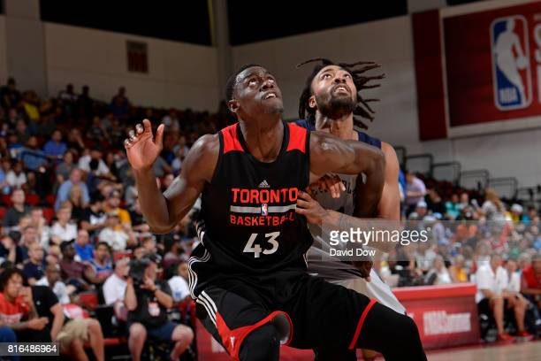 Pascal Siakam of the Toronto Raptors looks to rebound against the New Orleans Pelicans during the 2017 Las Vegas Summer League on July 7 2017 at the...