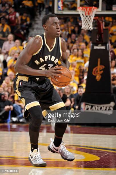 Pascal Siakam of the Toronto Raptors passes the ball against the Cleveland Cavaliers during Game Two of the Eastern Conference Semifinals during the...