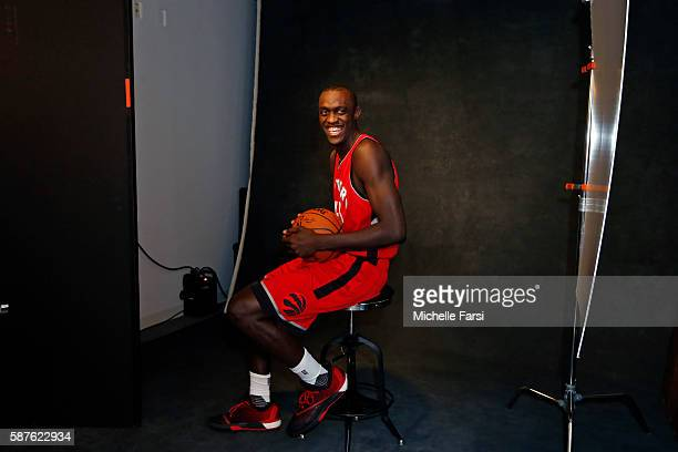 Pascal Siakam of the Toronto Raptors poses for a portrait during the 2016 NBA rookie photo shoot on August 7 2016 at the Madison Square Garden...