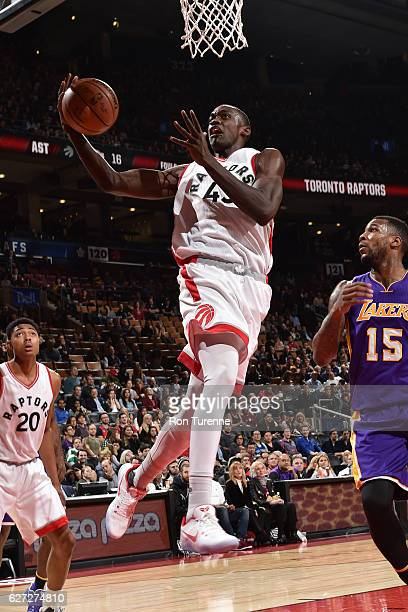 Pascal Siakam of the Toronto Raptors rebounds against the Los Angeles Lakers on December 2 2016 at the Air Canada Centre in Toronto Ontario Canada...