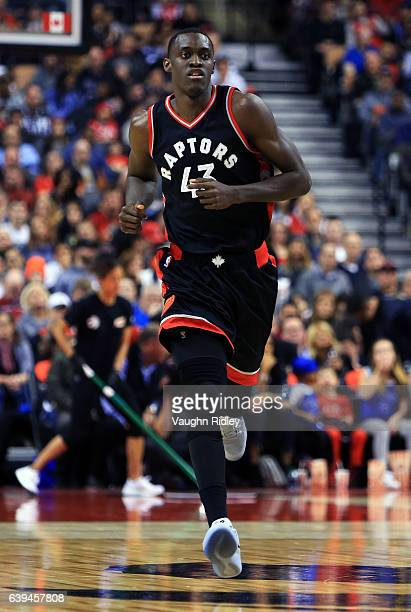 Pascal Siakam of the Toronto Raptors runs up the court during the second half of an NBA game against the New York Knicks at Air Canada Centre on...