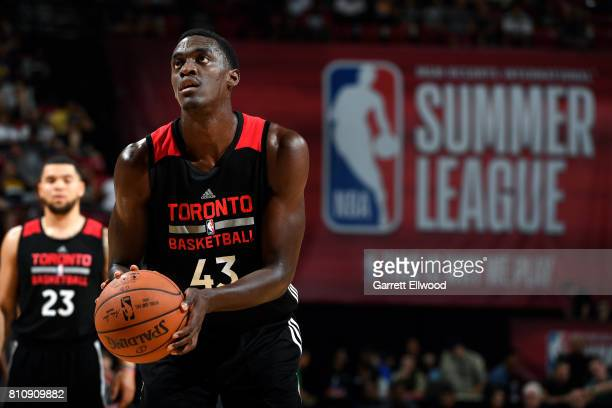 Pascal Siakam of the Toronto Raptors shoots a free throw during the game against the Minnesota Timberwolves during the 2017 Las Vegas Summer League...