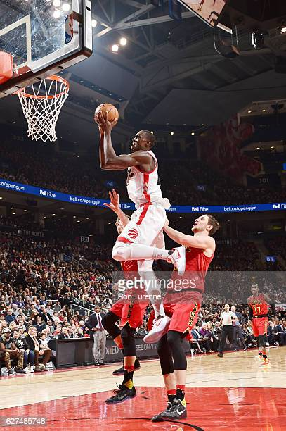 Pascal Siakam of the Toronto Raptors shoots the ball against Mike Muscala of the Atlanta Hawks during the game on December 3 2016 at the Air Canada...