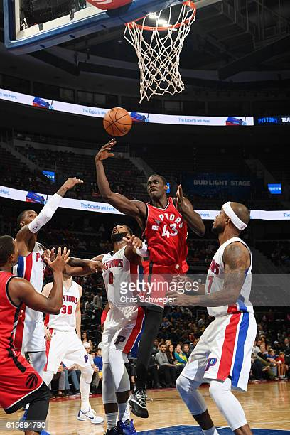 Pascal Siakam of the Toronto Raptors shoots the ball against the Detroit Pistons on October 19 2016 at The Palace of Auburn Hills in Auburn Hills...