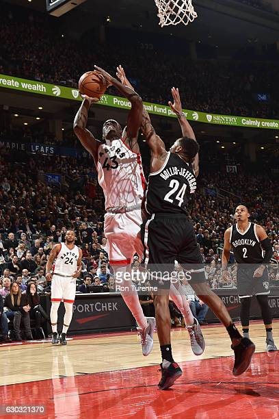 Pascal Siakam of the Toronto Raptors shoots the ball against the Brooklyn Nets on December 20 2016 at the Air Canada Centre in Toronto Ontario Canada...