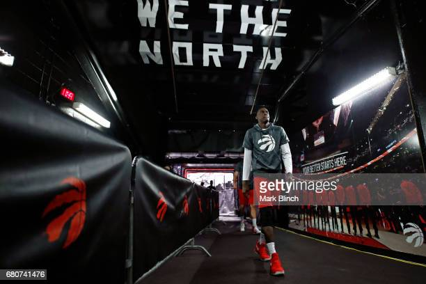 Pascal Siakam of the Toronto Raptors walks off the court before Game Four of the Eastern Conference Semifinals against the Cleveland Cavaliers during...