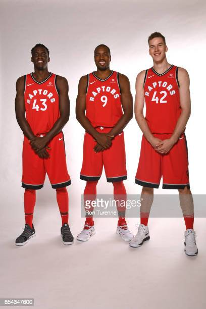 Pascal Siakam Serge Ibaka and Jakob Poeltl of the Toronto Raptors pose for a portrait during Media Day on September 25 2017 at the BioSteel Centre in...