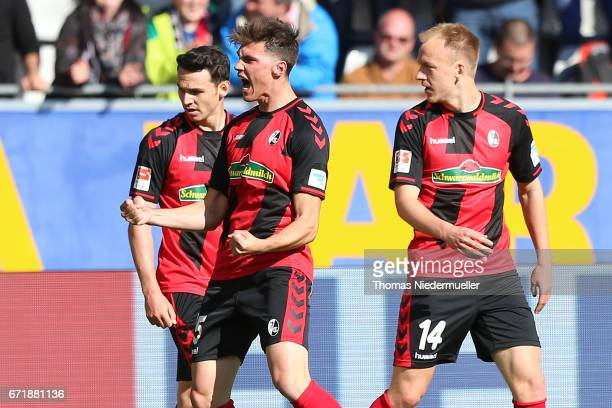 Pascal Stenzel of Freiburg celebrates his goal during the Bundesliga match between SC Freiburg and Bayer 04 Leverkusen at SchwarzwaldStadion on April...