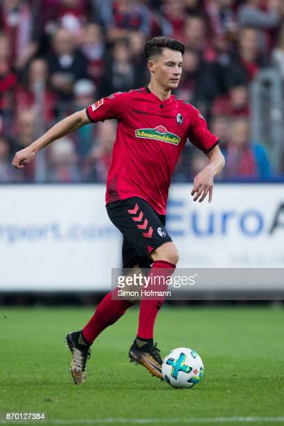 Pascal Stenzel of Freiburg controls the ball during the Bundesliga match between SportClub Freiburg and FC Schalke 04 at SchwarzwaldStadion on...