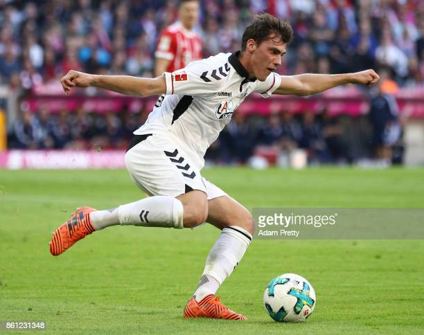 Pascal Stenzel of Freiburg during the Bundesliga match between FC Bayern Muenchen and SportClub Freiburg at Allianz Arena on October 14 2017 in...