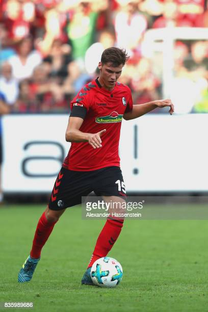 Pascal Stenzel of Freiburg runs with the ball during the Bundesliga match between SportClub Freiburg and Eintracht Frankfurt at SchwarzwaldStadion on...