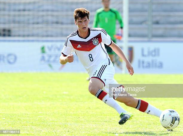 Pascal Stenzel of Germany in action during the football match U20 Italy and U20 Germany international friendly on September 3 2015 in Lucca Italy