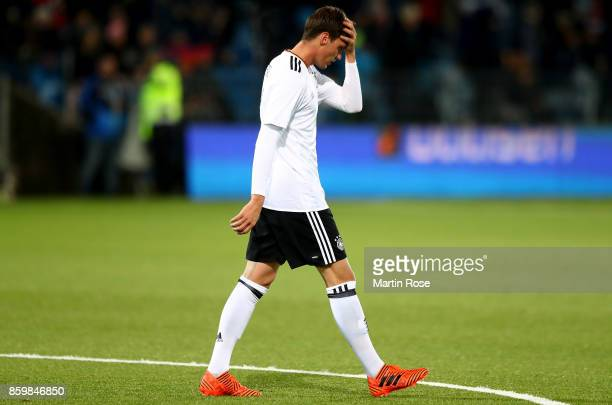 Pascal Stenzel of Germany looks dejected during the UEFA Under21 Euro 2019 Qualifier match between U21 of Norway and U21 of Germany at Marienlyst on...