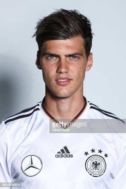 Pascal Stenzel of Germany poses for the Germany U21 Team Presentation on August 29 2017 in Harsewinkel Germany
