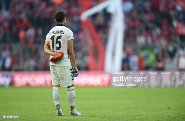 Pascal Stenzel of SC Freiburg reacts after the Bundesliga soccer match between FC Bayern Munich and SC Freiburg at Allianz Arena in Munich Germany on...