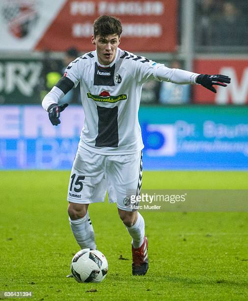 Pascal Stenzel of SC Freiburg with ball during the Bundesliga match between FC Ingolstadt 04 and SC Freiburg at Audi Sportpark on December 21 2016 in...