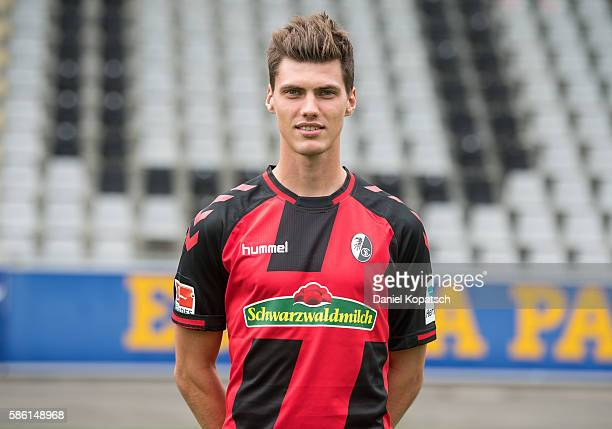 Pascal Stenzel poses during the SC Freiburg Team Presentation on August 5 2016 in Freiburg im Breisgau Germany