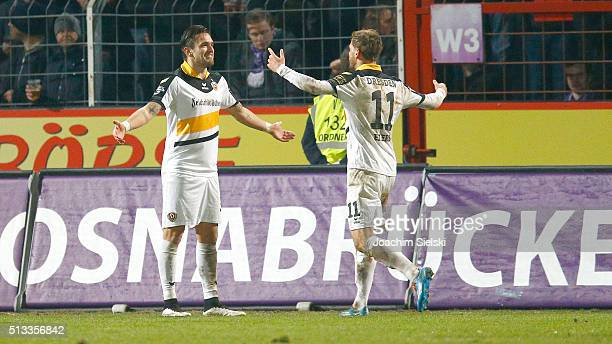 Pascal Testroet and the Goalgetter Justin Eilers of Dresden celebration the goal 03 during the third league match between VfL Osnabrueck and Dynamo...
