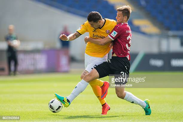 Pascal Testroet of Dresden and Waldemar Anton of Hanover in action during the Second Bundesliga match between Hannover 96 and SG Dynamo Dresden at...