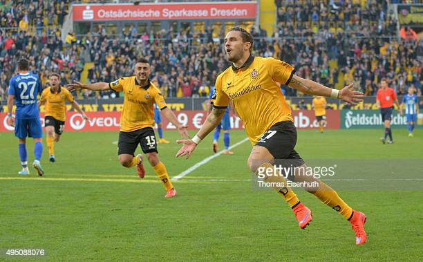 Pascal Testroet of Dresden celebrates after scoring 21 during the Third League match between SG Dynamo Dresden and 1 FC Magdeburg at Stadion Dresden...