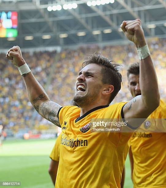 Pascal Testroet of Dresden celebrates after scoring the equalizer during the Second Bundesliga match between SG Dynamo Dresden and 1 FC Nuernberg at...
