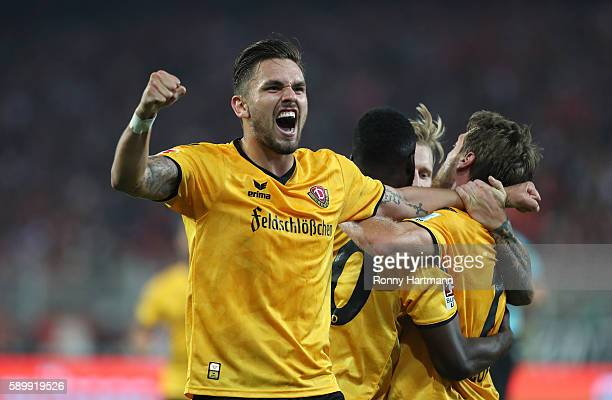 Pascal Testroet of Dresden celebrates during the Second Bundesliga match between 1 FC Union Berlin and SG Dynamo Dresden at Stadion An der Alten...