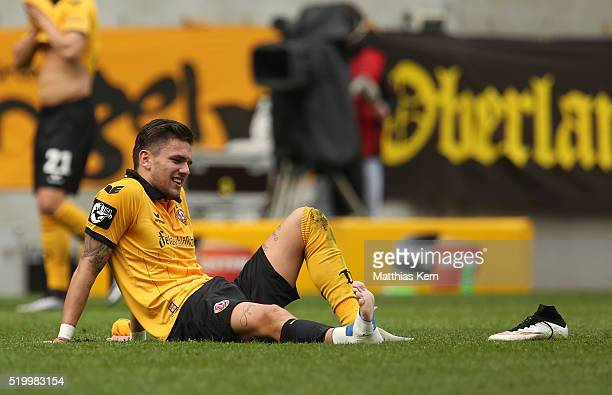 Pascal Testroet of Dresden looks on after the third league match between SG Dynamo Dresden and Holstein Kiel at DDVStadion on April 9 2016 in Dresden...