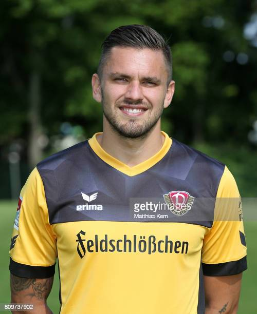 Pascal Testroet of Dresden poses during the SG Dynamo Dresden team presentation on July 6 2017 in Dresden Germany