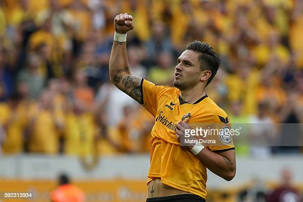 Pascal Testroet of Dresden reacts as he scores penalty during the DFB Cup match between Dynamo Dresden and RB Leipzig at DDVStadion on August 20 2016...
