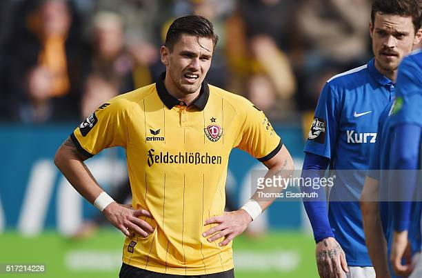 Pascal Testroet of Dresden reacts during the Third League match between SG Dynamo Dresden and FC Hansa Rostock at DDVStadion on March 19 2016 in...