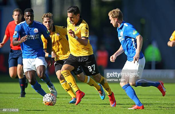 Pascal Testroet of Dresden runs with the ball during the third league match between FC Hansa Rostock and SG Dynamo Dresden at Ostseestadion on...