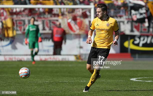 Pascal Testroet of Dresden runs with the ball during the third league match between FC Energie Cottbus and SG Dynamo Dresden at Stadion der...